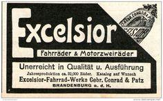 Original-Werbung/ Anzeige 1905 - EXCELSIOR FAHRRÄDER UND MOTORZWEIRÄDER /  CONRAD & PATZ BRANDENBURG - ca 90 X 55 mm