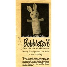 A very easy and quick to make hand puppet-sweet little bunny head! Pattern PDF from WonkyZebra.com