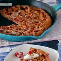 Tortita pastel horneada de fresas. Receta ligera de postre