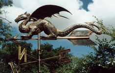 Custom Copper Weathervanes | Pictured above is a custom repousse copper weathervane of a dragon ...