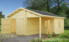 Wooden garage o bright wood together with a shelter. You can also find such beautiful wooden garages at quick-garden.co.uk/wooden-garages-aluminum-carports.html