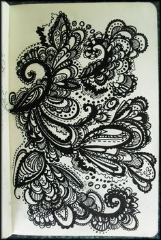 Swirls,curves and curls… An ink pen study. By http://blendintoone.tumblr.com/