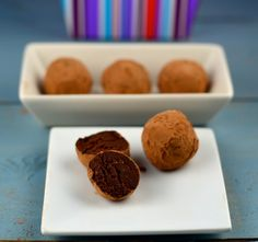 chocolate truffles made with dark chocolate, almond butter and greek yogurt. Simple delight!