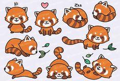 Premium Vector Clipart Pandas rojos de Kawaii lindo Panda