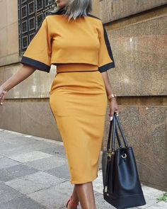 Colorblock Short Sleeve Crop Top & Skirt Sets trendiest dresses for any occasions, including wedding gowns, special event dresses, accessories and women clothing. Elegant Dresses, Casual Dresses, Formal Dresses, Pretty Dresses, Short Dresses, Casual Outfits, Dress Outfits, Fashion Outfits, Maxi Dresses