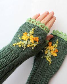 Hand Knitted Fingerless Gloves, Gloves & Mittens, Accessories, Women,Ribbon…
