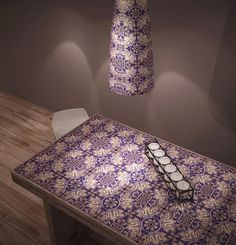 lamp and table Sicilian tiles by Le Nid