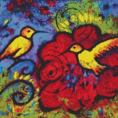 Modern Cross Stitch By Lindy Gruger Gaskill 'Two Yellow Hummingbird' Whimsical CrossStitch Kit. $76.00, via Etsy.  http://www.etsy.com/listing/93479741/modern-cross-stitch-by-lindy-gruger-two#