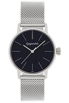Gigandet Women's Quartz Wrist Watch Minimalism Analogue Stainless Steel Mesh Bracelet Black Silver G43-006