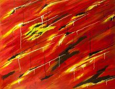 Dripping fire, schilderij van Christian van Hedel .. Kunst / Abstract / Modern / Schilderij