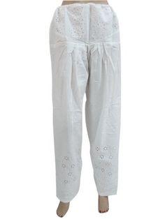 "Womens White Palazzo Pants, Eyelet Lace, Cotton Drawstring Bohemian Pants 40"" Mogul Interior,http://www.amazon.com/dp/B00ATWXKPG/ref=cm_sw_r_pi_dp_wmU8qb025BA7NSBQ"