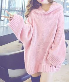 Fashionable Puff Sleeve Round Neck Solid Color Women's Sweater ...