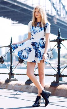Floral print mini dress and black ankle boots