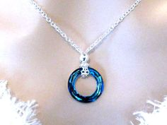 Royal Blue Eternity Necklace, Crystal Cosmic Ring Swarovski Necklace. Sapphire Blue Necklace, Bridal Party Jewelry, Prom, Wedding Necklace