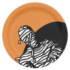 Halloween Mummy With Orange Background Paper Plate - halloween decor diy cyo personalize unique party