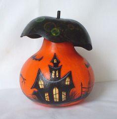 Halloween Fairy Gourd Mushroom House - Hand Painted Gourd. $25.00, via Etsy.