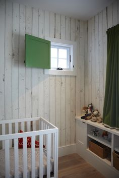 Nursery #greenshutter, #scrapwood, #wallpaper