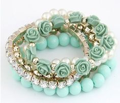 Free Shipping Mint Green Bangle Bracelets Pearl Multi layered Rose Bracelets