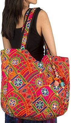 59836cef8e Amazon.com  Tribe Azure Colorful Floral Boho Large Shoulder Bag Tote Women  Handbag Purse Fashion Casual Spacious Unique Tassel Flower Market School  Beach ...