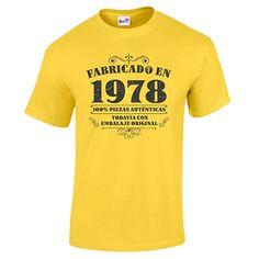 BANG TIDY CLOTHING Camiseta de Hombre Para Regalo DE 40 Cumpleaños Manufactured 1978 EN Amarillo Talla S: Amazon.es: Ropa y accesorios