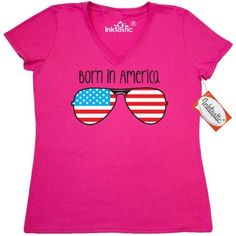 33c5acb7a Inktastic Born In America Women's V-Neck T-Shirt Usa American Flag Aviators  Independence Day 4th Of July Patriotic Merica Clothing Apparel Tees Adult