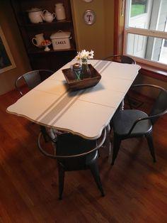 The Shabby Cottage Home: Grain Sack Drop Leaf Table