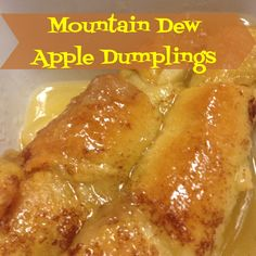 Mountain Dew Apple Dumplings - Deep In the Dish of Texas.I've made these and as weird as the Mountain Dew sounds, Oh so good! Apple Desserts, Apple Recipes, Easy Desserts, Baking Recipes, Dessert Recipes, Asian Desserts, Cake Recipes, Apple Dumplins, Crescent Roll Apple Dumplings