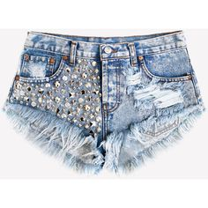 Luna Acid Studded Babe Shorts ❤ liked on Polyvore featuring shorts, bottoms, short, pants, distressed denim shorts, jean cutoff shorts, destroyed denim shorts, denim shorts and ripped denim shorts
