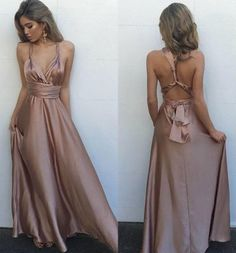 Sexy V Neck Maxi Dress Backless Long Satin Prom Dress,Backless dress,Homecoming dress,sexy dress