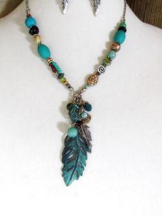 COWGIRL Necklace set FEATHER Turquoise Patina Native Beads GYPSY BOHO WESTERN #davinci