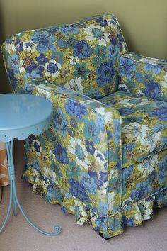 The Granny Chic Slipcovered Chair- great colors.