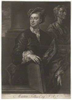 Folkes, Martin (1690-1754), engraving by by John Faber Jr, after John Vanderbank mezzotint, 1737 (1736), 13 7/8 in. x 10 in. (353 mm x 253 mm), London, National Portrait Gallery, purchased, 1966,NPG D4987