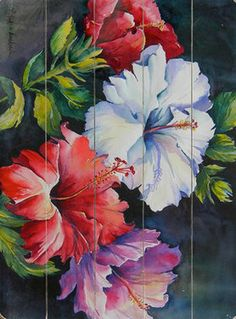 Colorful Hibiscus Wall Decor