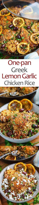 One Pan Greek Lemon Chicken Rice with Roast Garlic
