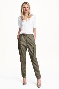 Pantalon cargo en lin mélangé | H&M
