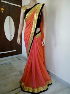 ORANGE SINGLE COLOUR GEORGETTE SAREE WITH GOLDEN SEQUENCE BORDER WITH BLACK VELVET BORDER.... UNSTITCHED BLACK VELVET BLOUSE.. original price : 3599 rs CALL / WHATSAPP :09425052960 https://www.facebook.com/photo.php?fbid=590994457651749&set=a.353815694702961.85020.352223348195529&type=1&theater