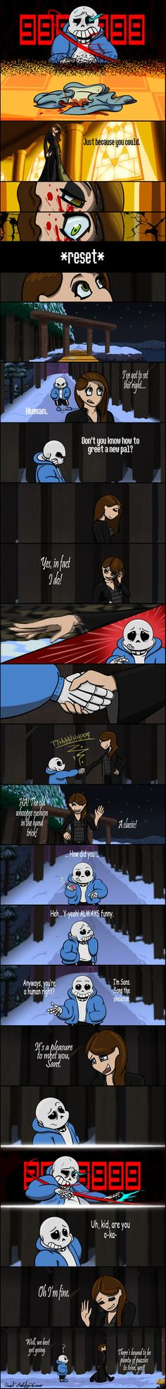 I can't draw Papyrus XD This is how I see this scene. So I'm playing secound run, and i started it as no mercy run, but I spared Papyrus. Then Sans thanked me for it. This is where I am right now :...