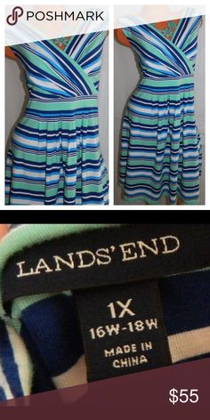 LANDS END Dress 1X 2X 16 18 Stripe NAUTICAL Teal So Chic!! In gentle pre-owned condition Lands' End Dresses