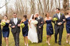navy bridesmaid dresses grey groomsmen suits bridal party