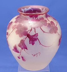 Legras French Art Glass Vase, cameo art glass cut in freesia design, deep to faintest plum, almost white frosted glass, bulbous formBurchard Galleries