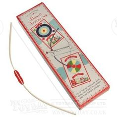 A wooden bow and arrow set complete with 3 arrows with rubber suckers on the ends all packaged in a retro box. - See more at: http://www.toyday.co.uk/shop/prod_5647.html#sthash.pAjeLi1o.dpuf