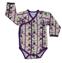 Snoozy Rose Owl Onesie    Adorable baby onesie from fab Scandanavian children's clothing brand Snoozy.    Long-sleeved babygro with popper fastenings and wrap-over style in rose pink. All-over print of owls in the trees in shades of purple, blue and green. Complementing purple trim. Cute, comfortable and long-lasting baby clothes.    Made from 95% cotton and 5% elastane.