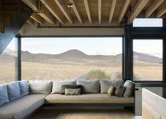 views, exposed ceiling