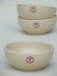 vintage Adobe Ware restaurant china soup bowls, WWII US Army Medical Dept.