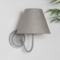 Add some extra lighting to your living room or hallway with this wall light sconce. Traditional, country cottage style that will fit in with in with many decors. Finished with a grey cotton shade and a distressed metal arm on an ornate round backplate. Shabby Chic Wall Lights, Beige Wall Lights, Vintage Wall Lights, Country Cottage Living Room, Cottage Lounge, Cottage Style, Linen Light Shades, Wooden Crate Furniture, Wooden Crates
