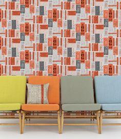 Mini Moderns - Hold Tight Wallpaper - Harvest Orange
