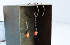Vintage Coral Bead Earrings.