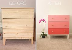 Ombré draws idea. Maybe in a neutral like grey or some other colour. Ikea-Hack-Painted-Dresser