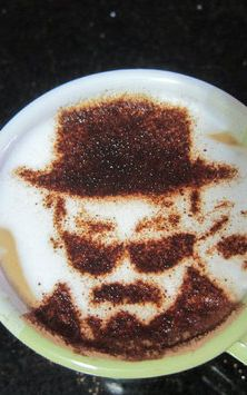 Latte art, man with hat and sun glasses