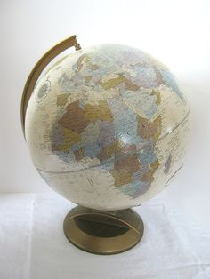 World globe in fab decorator colors! Vintage WORLD GLOBE Replogle Platinum Classic Raised Relief in Blue/Purple/Silver by LavenderGardenCottag on Etsy